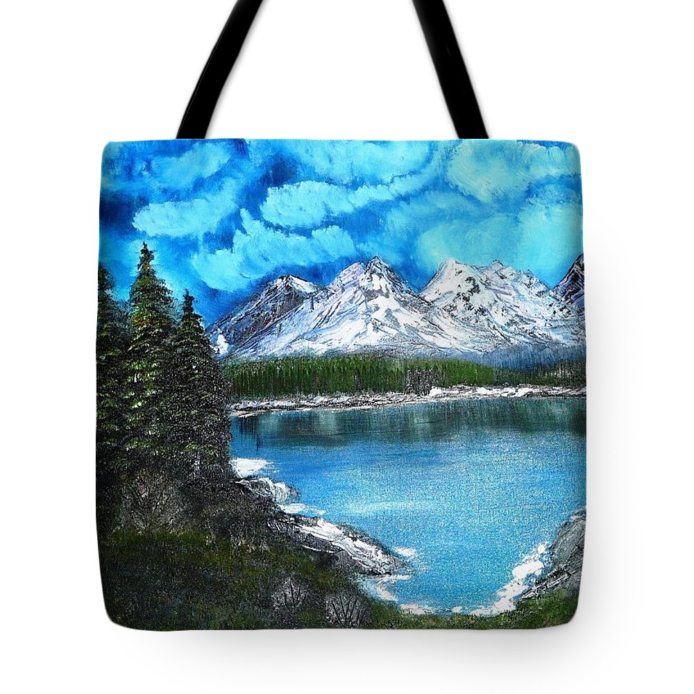 Landscape Tote Bag featuring the painting Deep Mountain Lake by Valerie Ornstein