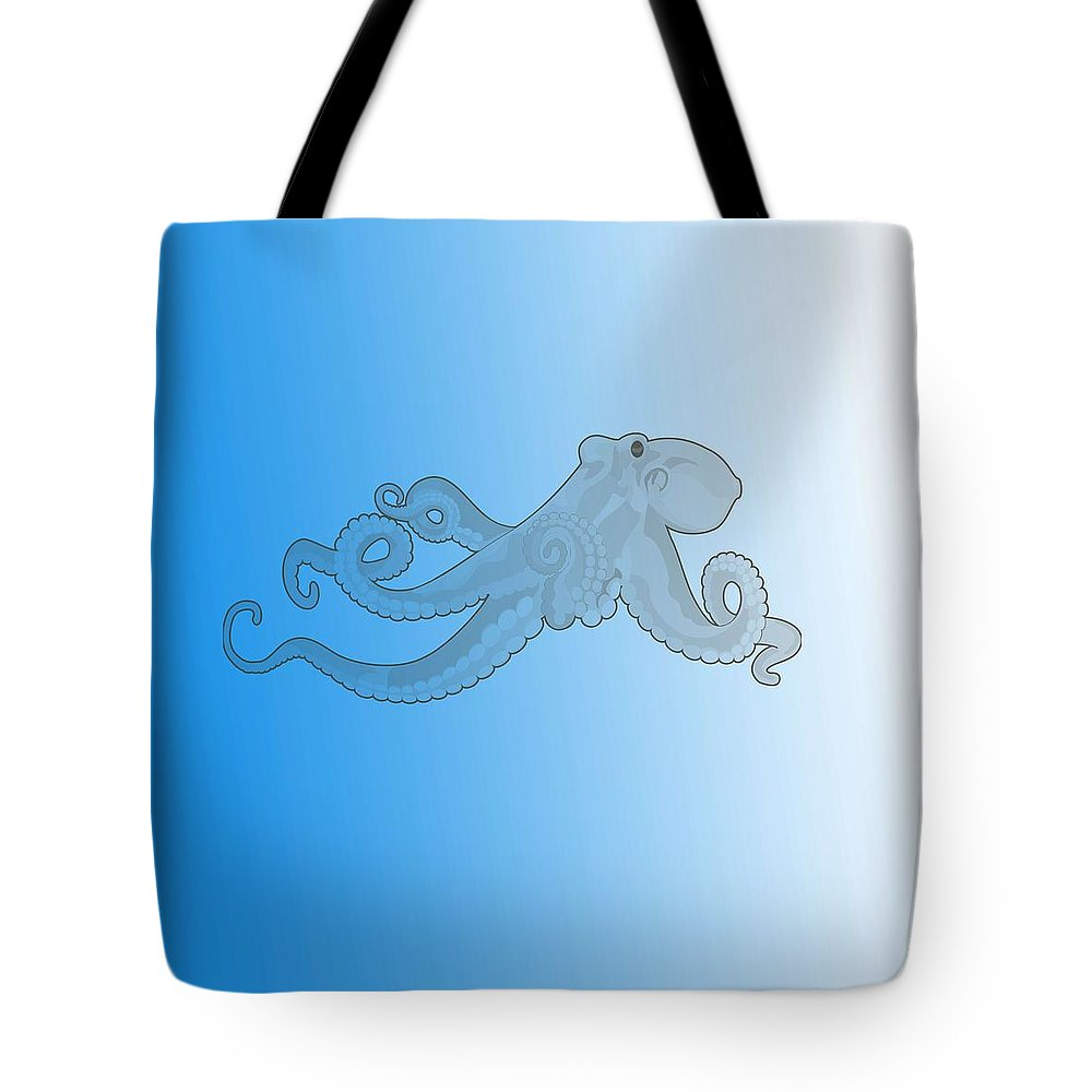 Octopus Tote Bag featuring the painting Deep Ocean Animals - Octopus 20 by Celestial Images