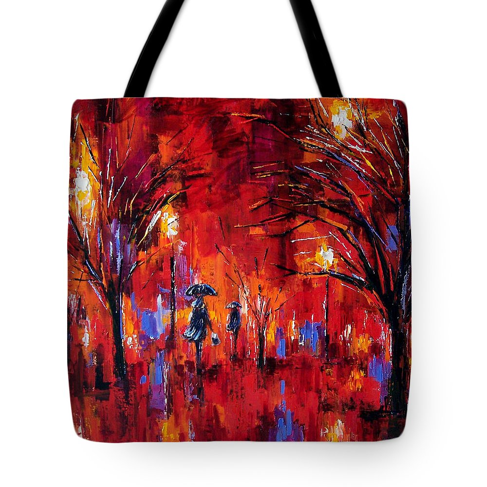 Umbrellas Tote Bag featuring the painting Deep Red by Debra Hurd