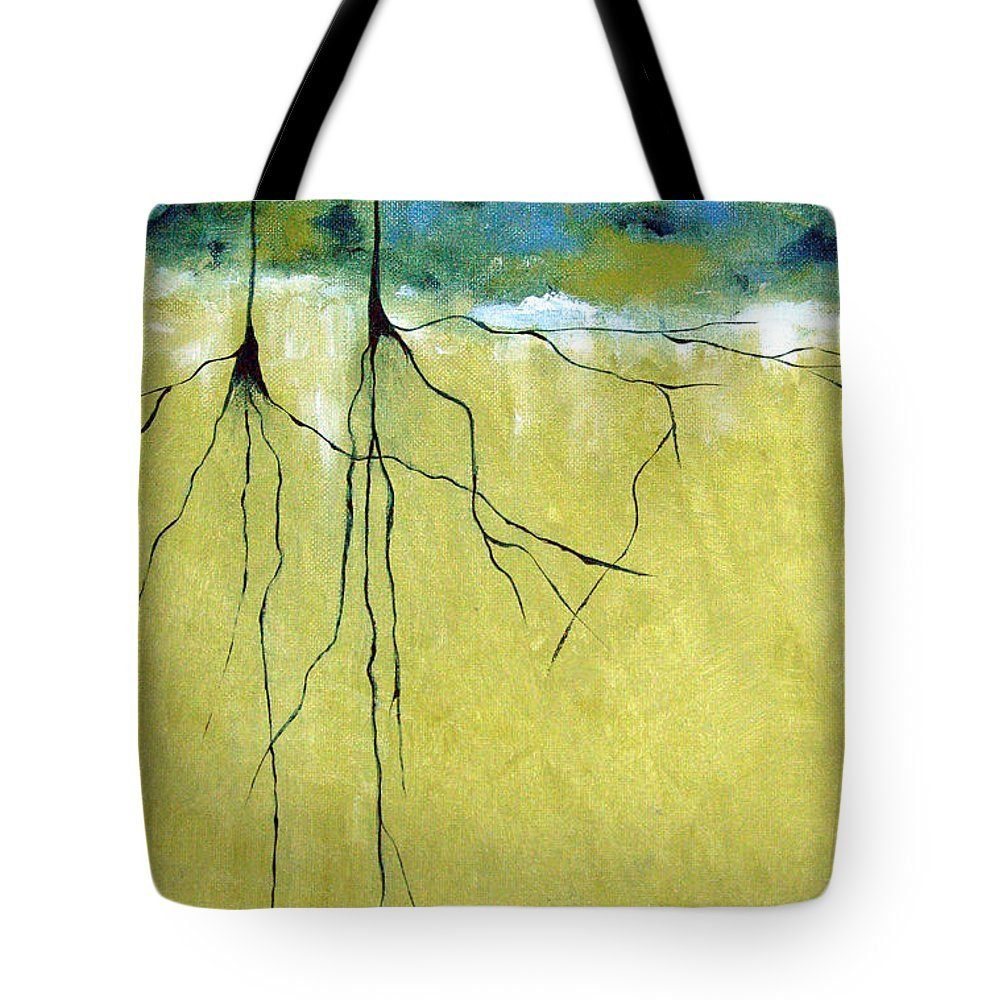 Abstract Tote Bag featuring the painting Deep Roots by Ruth Palmer