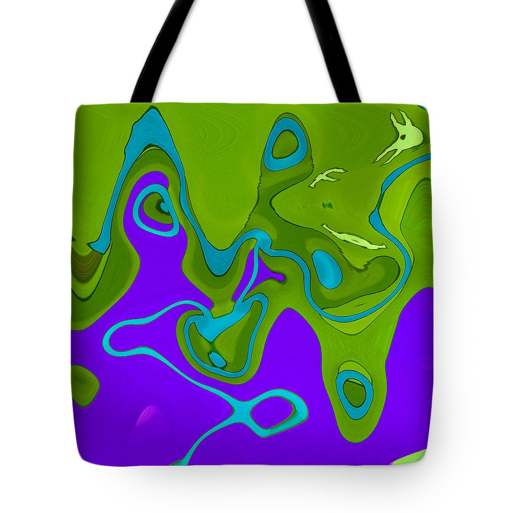 Abstract Tote Bag featuring the digital art Deep Sea Divers by Lenore Senior