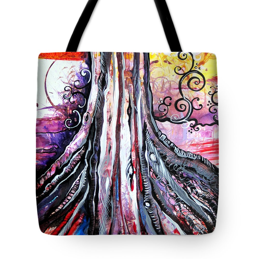 Art Tote Bag featuring the painting Deeply Rooted II by Shadia Derbyshire