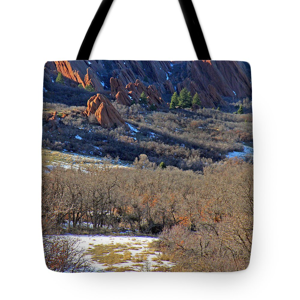 Deer Animals Wildlife Nature Roxborough State Park Colorado Winter Evening Light Rocky Mountains Tote Bag featuring the photograph Deer At Roxborough by George Tuffy