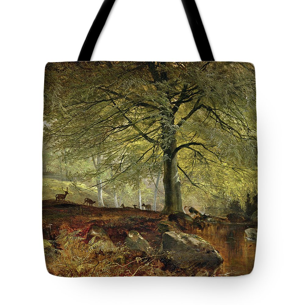 Deer Tote Bag featuring the painting Deer In A Wood by Joseph Adam