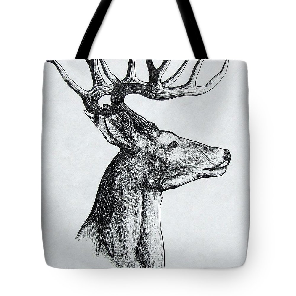 Michael Tote Bag featuring the drawing Deer by Michael TMAD Finney