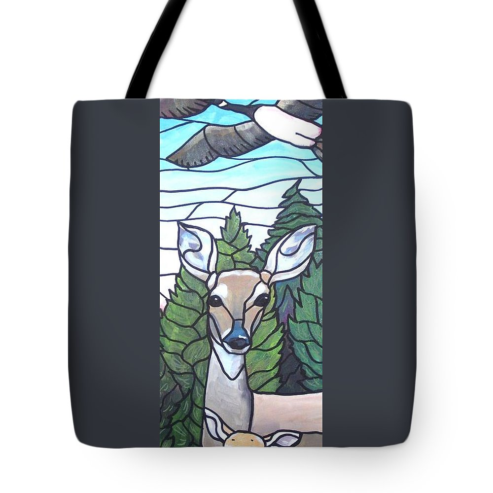 Deer Tote Bag featuring the painting Deer Scene by Jim Harris