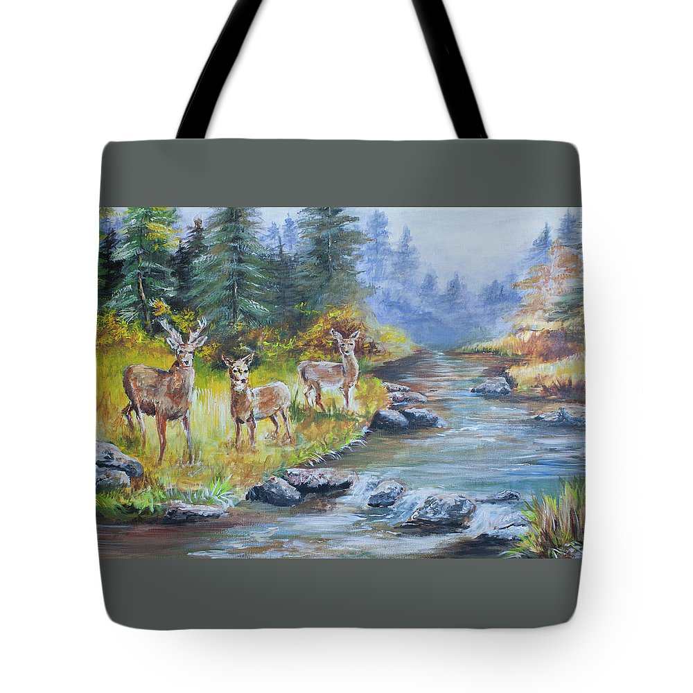 Deers Tote Bag featuring the painting Deers At The Water by Amber Ellison