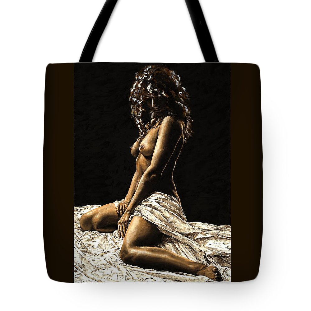 Nude Tote Bag featuring the painting Defiance by Richard Young