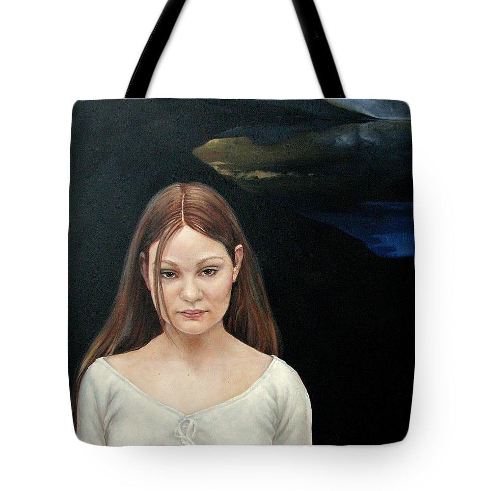 Facial Expressioin Tote Bag featuring the painting Defiant Girl 2004 by Jerrold Carton