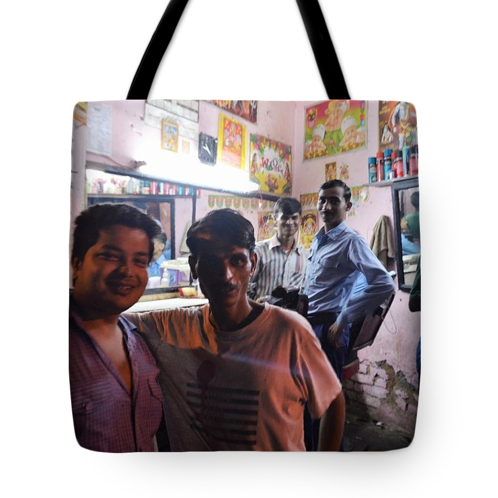 Tote Bag featuring the photograph Delhi Barbershop by Kim Bemis