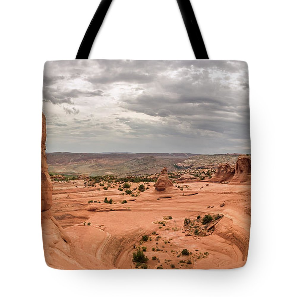 3scape Tote Bag featuring the photograph Delicate Arch Panoramic by Adam Romanowicz
