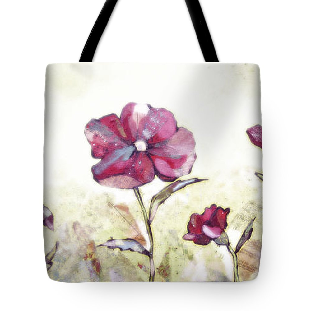 Rural Tote Bag featuring the painting Delicate Poppy II by Shadia Derbyshire