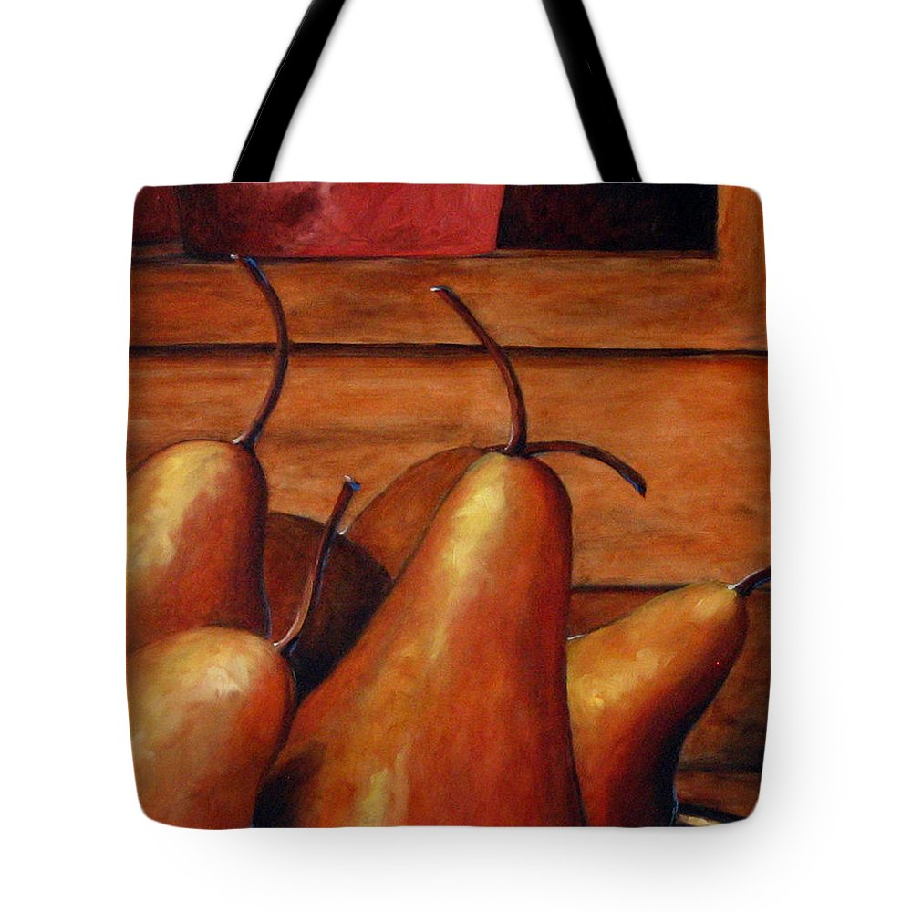 Pears Tote Bag featuring the painting Delicious Pears by Richard T Pranke
