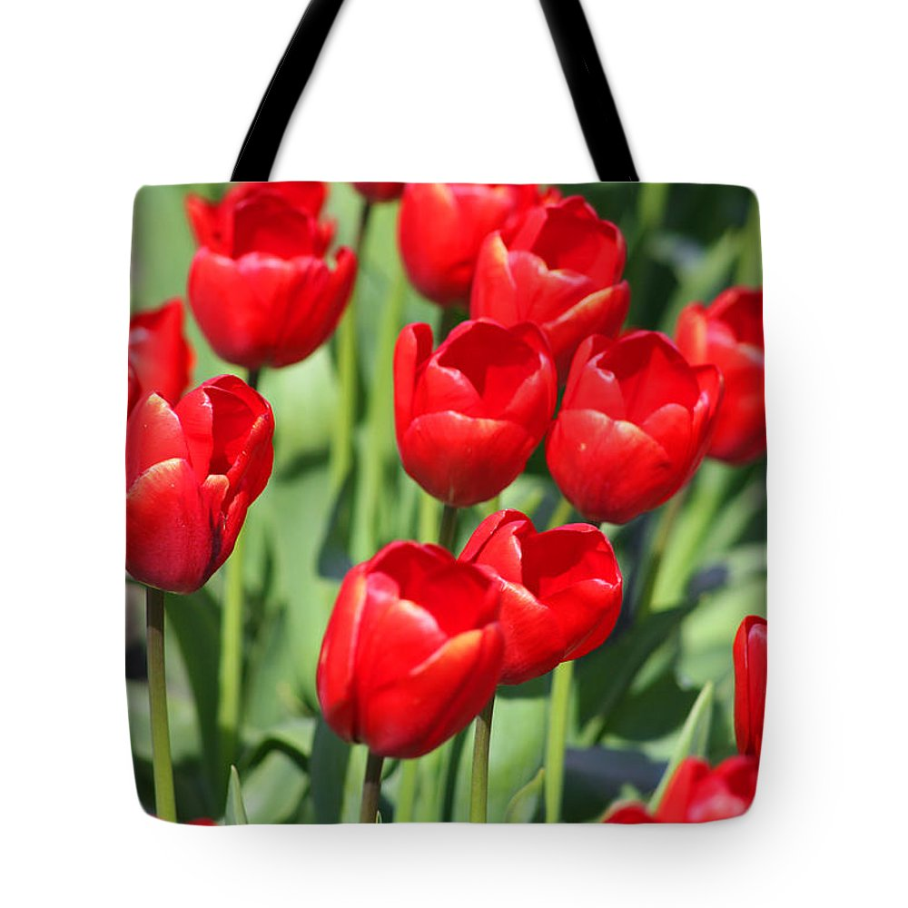 Red Tulips Tote Bag featuring the photograph Delicious Tulips by Mary Gaines