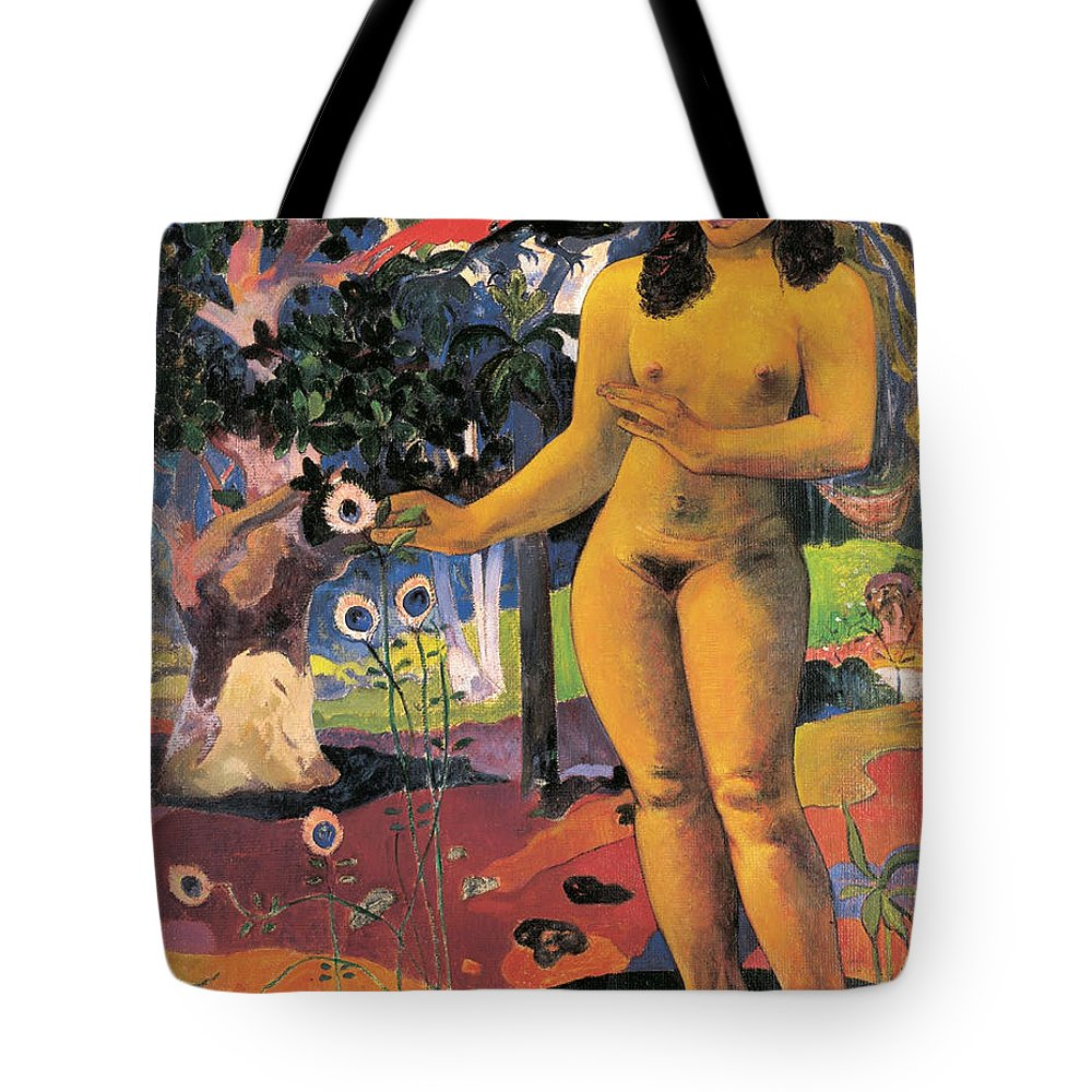 Paul Gauguin Tote Bag featuring the painting Delightful Land. Te Nave Nave Fenua by Paul Gauguin