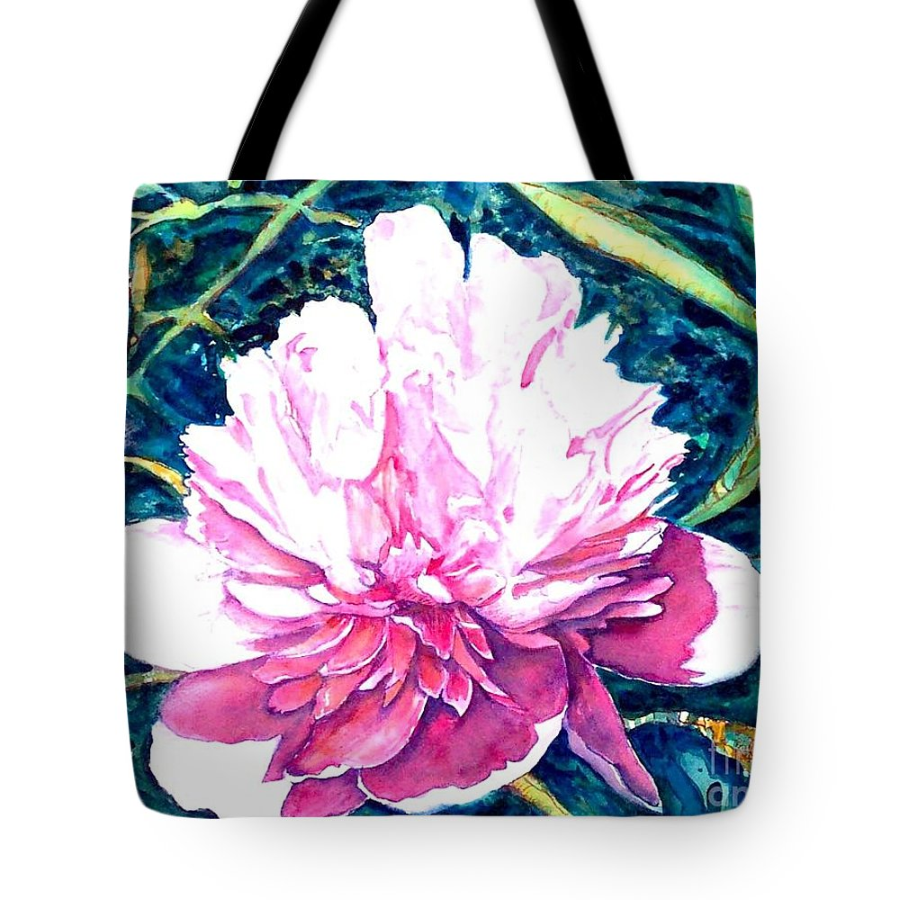 Peony Tote Bag featuring the painting Delightful Peony by Norma Boeckler