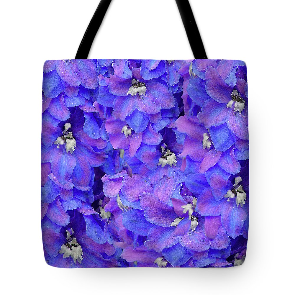 Sunlight Tote Bag featuring the photograph Delphinium Blue by Shirley Heyn