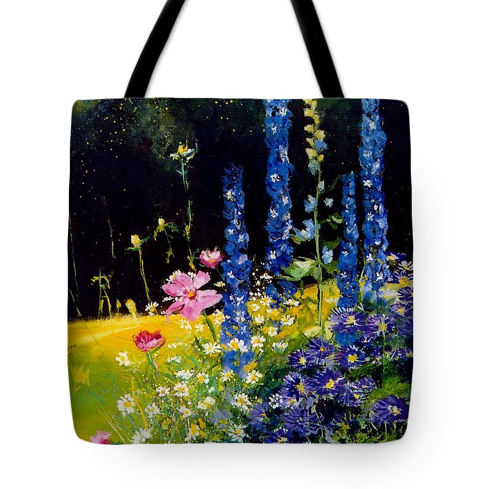 Poppies Tote Bag featuring the painting Delphiniums by Pol Ledent
