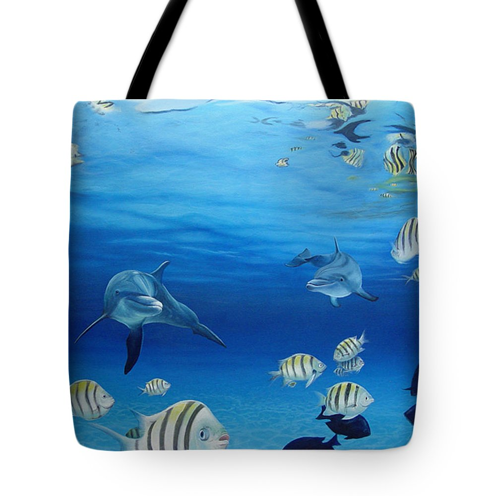 Seascape Tote Bag featuring the painting Delphinus by Angel Ortiz