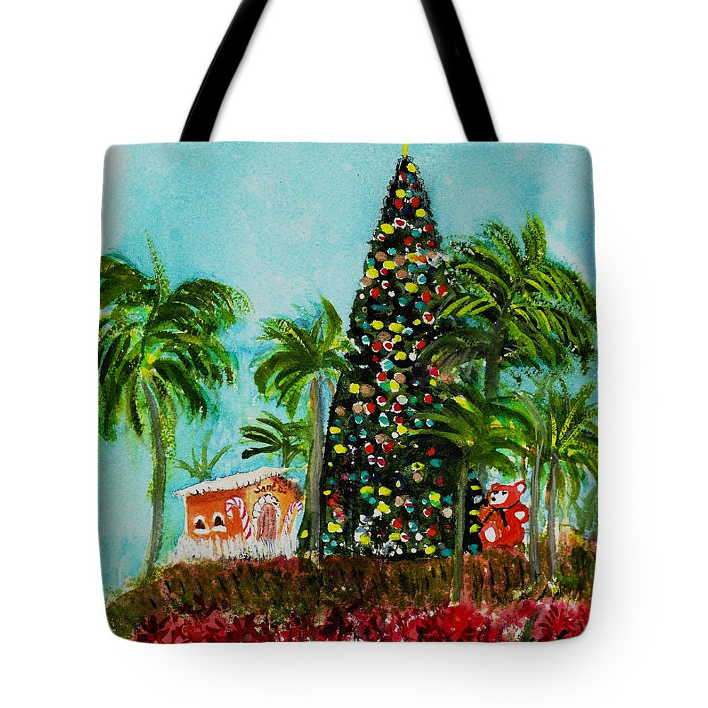 Delray Beach Tote Bag featuring the painting Delray Beach Christmas Tree by Donna Walsh