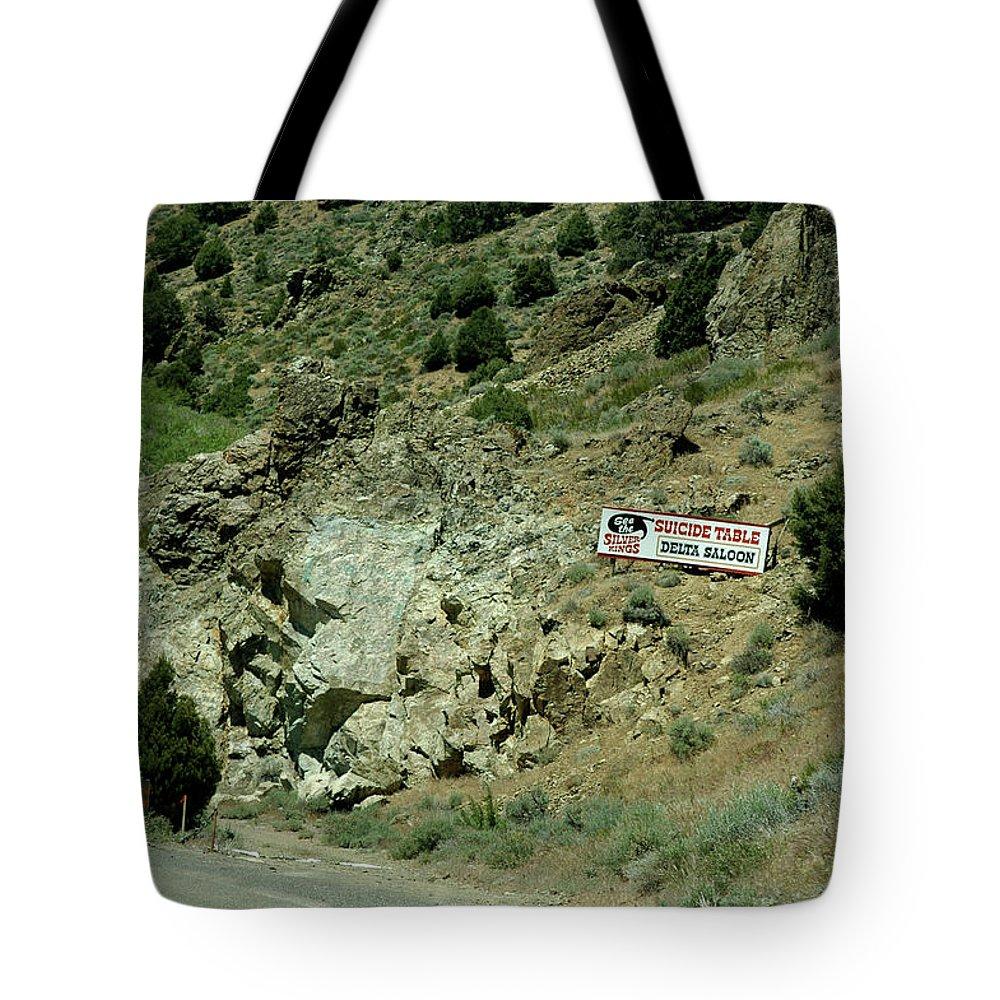 Usa Tote Bag featuring the photograph Delta Saloon Suicide Table Virginia City Nv by LeeAnn McLaneGoetz McLaneGoetzStudioLLCcom