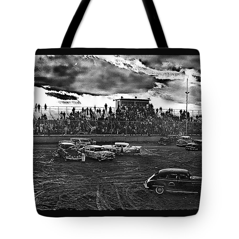 Demolition Derby Corona Speedway Tucson Arizona 1968 Tote Bag featuring the photograph Demolition Derby Corona Speedway Tucson Arizona 1968-2008 by David Lee Guss