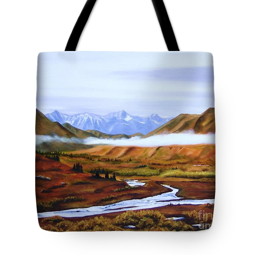 Art Tote Bag featuring the painting Denali Autumn by Mary Rogers