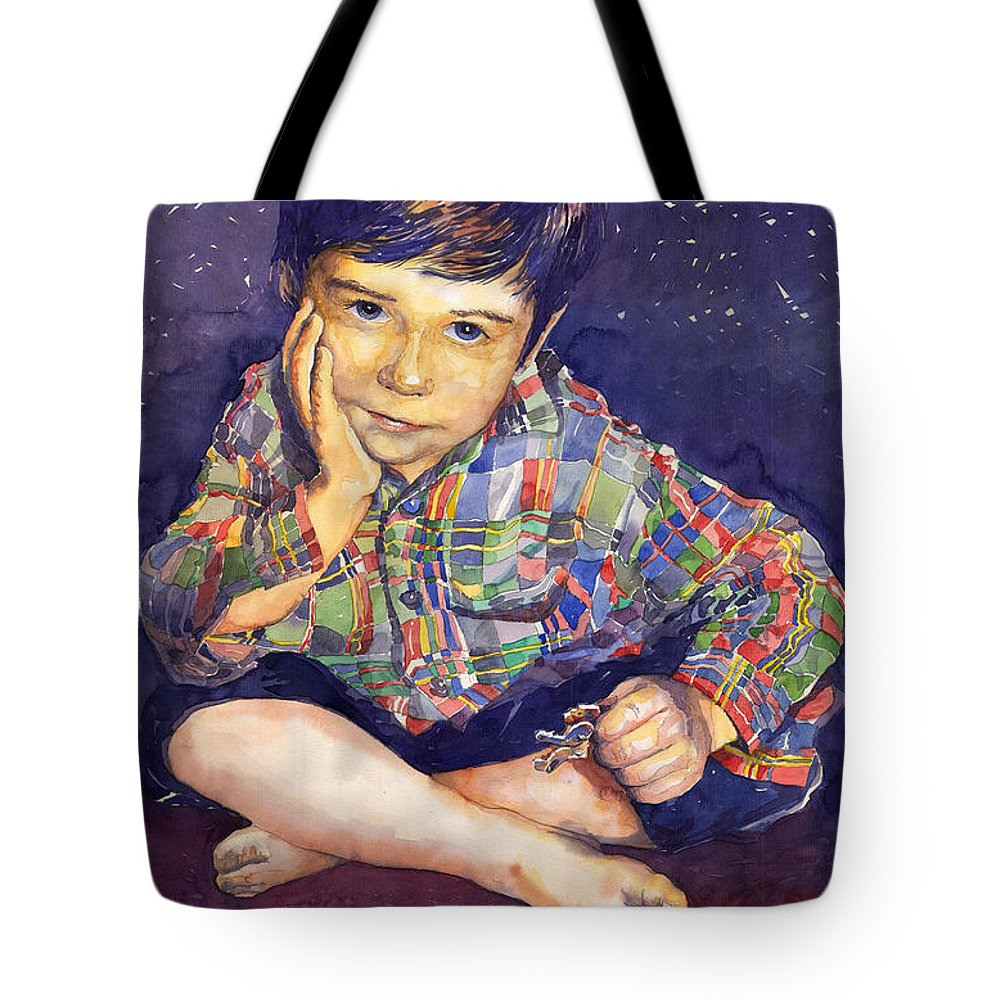 Watercolor Watercolour Portret Figurativ Realism People Commissioned Tote Bag featuring the painting Denis 01 by Yuriy Shevchuk