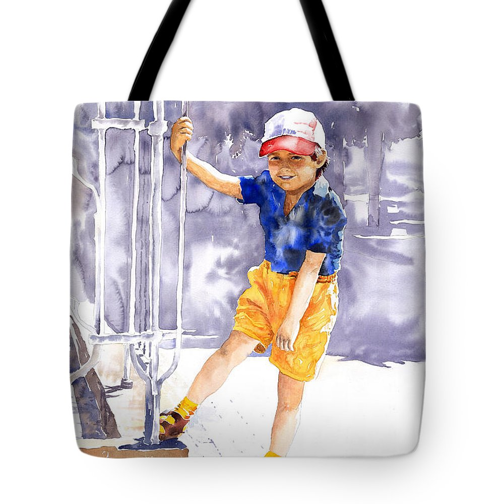 Watercolor Watercolour Figurativ Portret Tote Bag featuring the painting Denis 02 by Yuriy Shevchuk