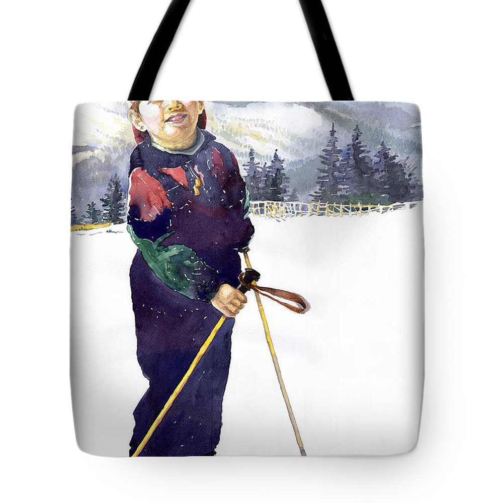 Watercolor Watercolour Figurative Ski Children Portret Realism Tote Bag featuring the painting Denis 03 by Yuriy Shevchuk