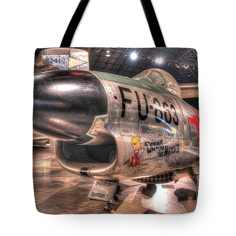 Dayton Tote Bag featuring the photograph Dennis The Menace, North American F-86d Sabre by Greg Hager