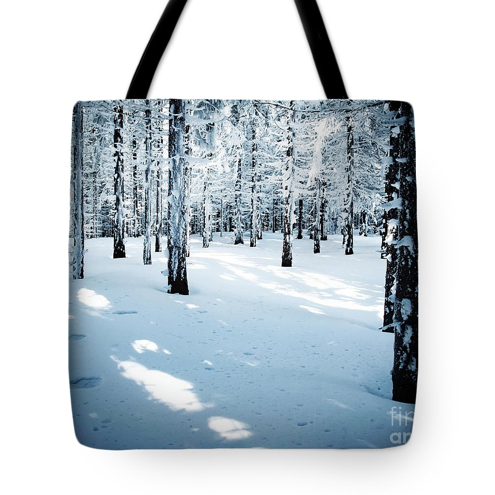 Slovakia Tote Bag featuring the photograph Dense Spruce Snowy Forest by Jozef Jankola