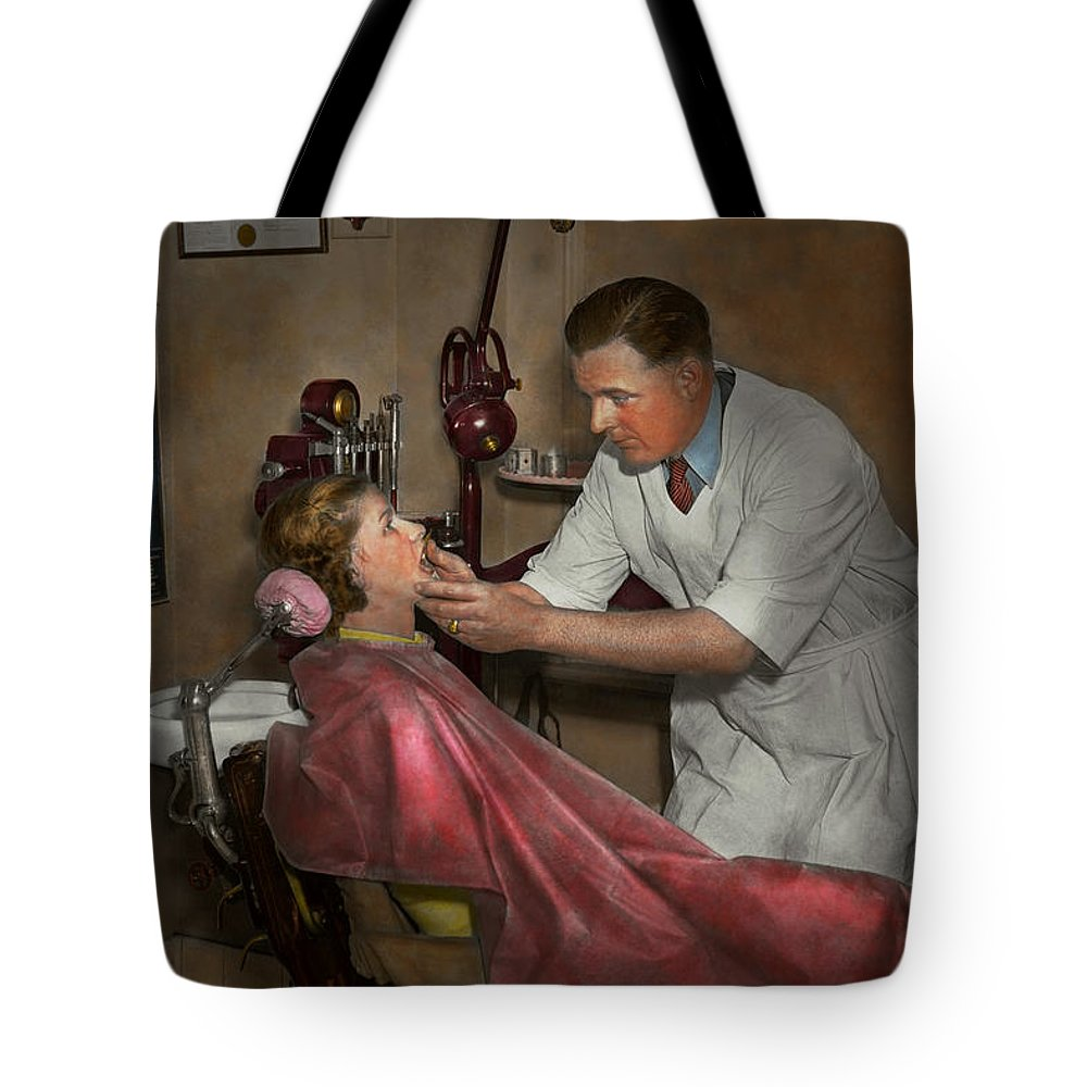 1930 Tote Bag featuring the photograph Dentist - Making An Impression - 1936 by Mike Savad