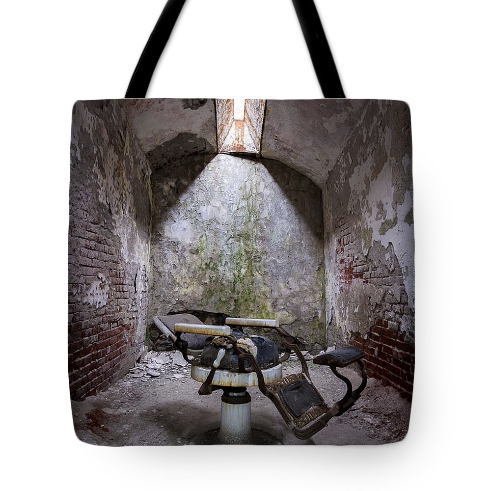 Eastern State Prison Tote Bag featuring the photograph Dentist's Chair-eastern State by Eric Thacke