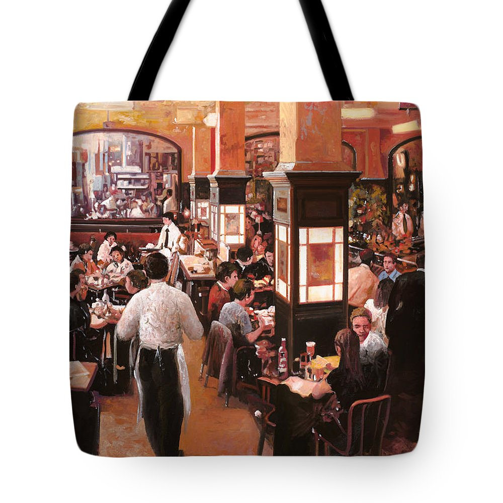 Coffee Shop Tote Bag featuring the painting Dentro Il Caffe by Guido Borelli