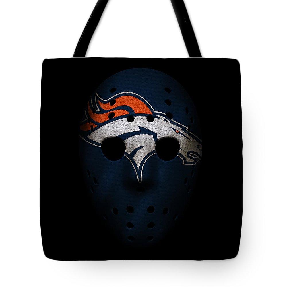 Broncos Tote Bag featuring the photograph Denver Broncos War Mask by Joe Hamilton