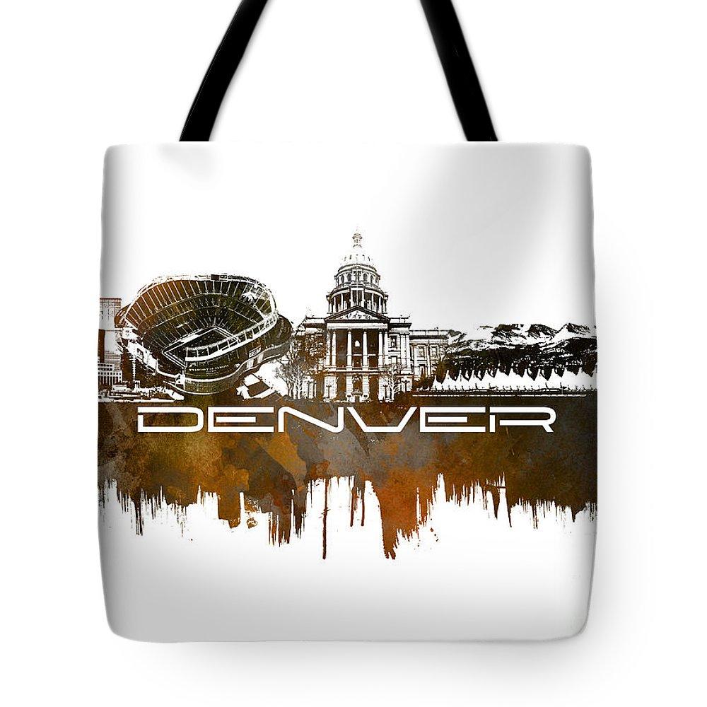 Denver Tote Bag featuring the digital art Denver Skyline City Brown by Justyna JBJart
