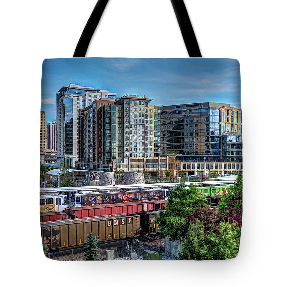 Colorado Tote Bag featuring the photograph Denver Train Station by Dave Thompsen