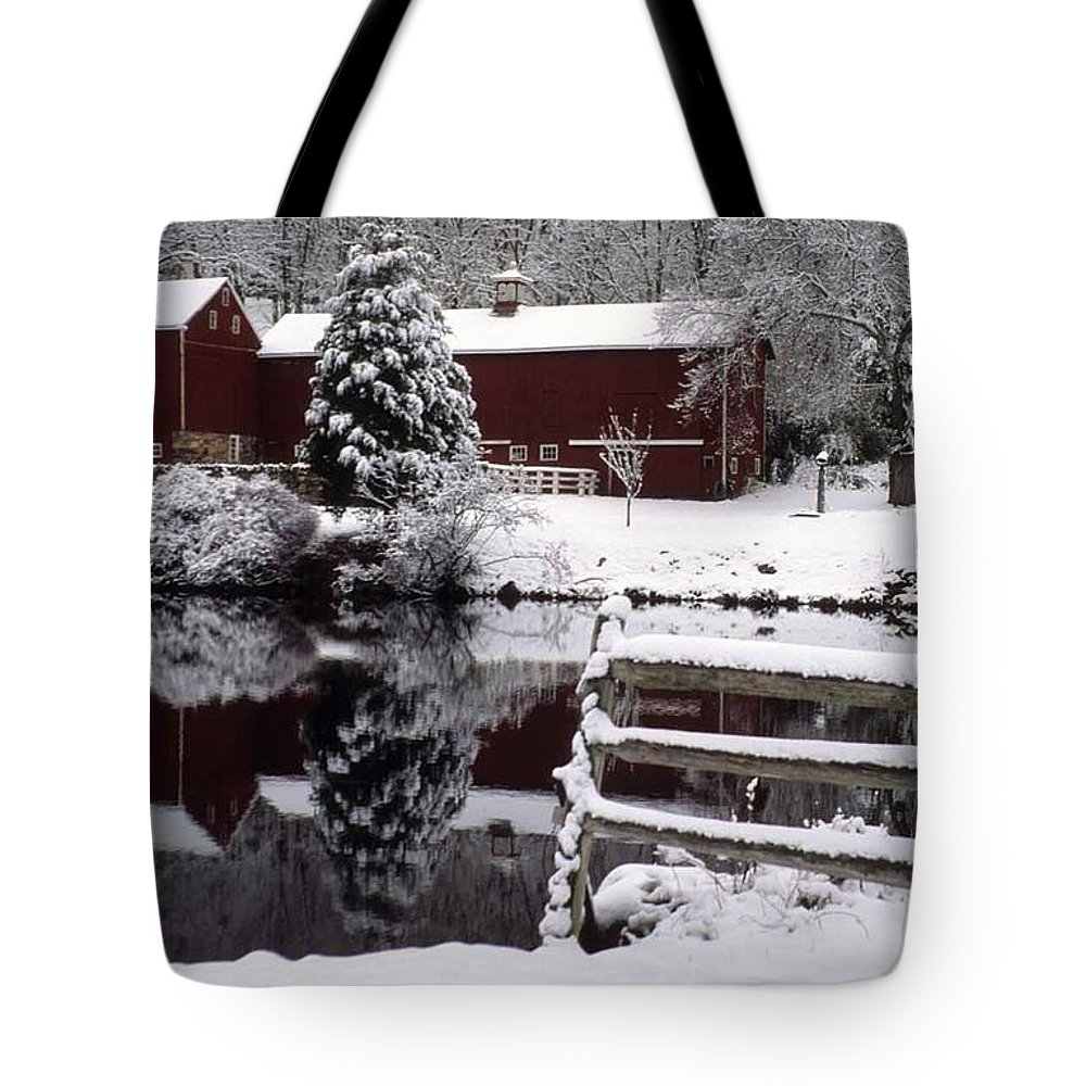 Barn Tote Bag featuring the photograph Denville Homestead by Laurie Paci