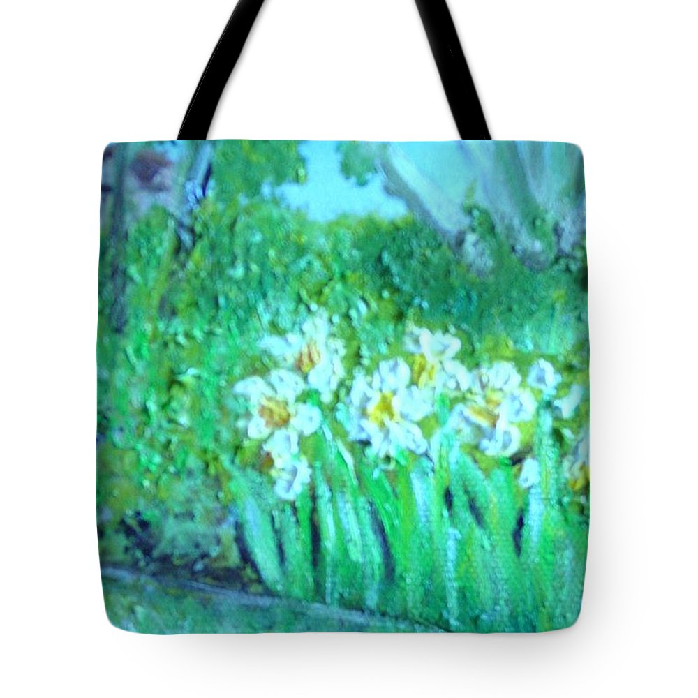 Daffodils Tote Bag featuring the painting Dependable Daffodils by Laurie Morgan