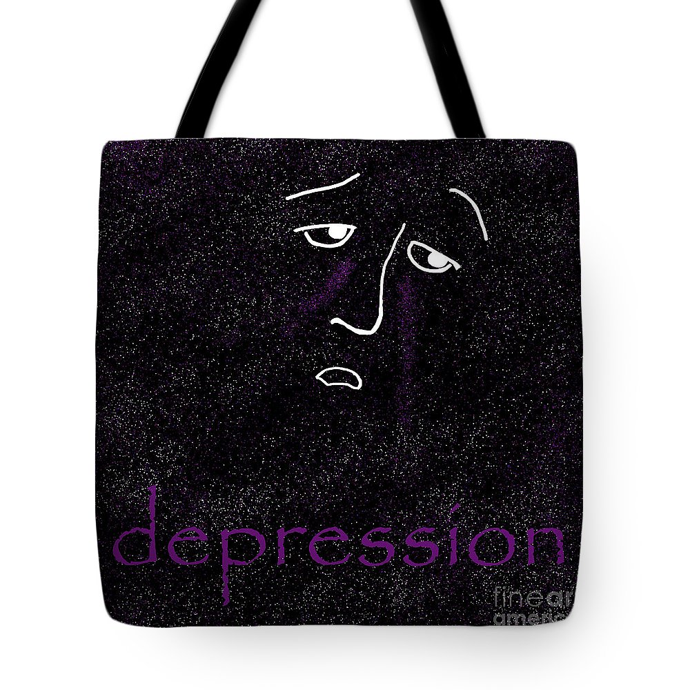 Depression Tote Bag featuring the digital art Depression by Methune Hively
