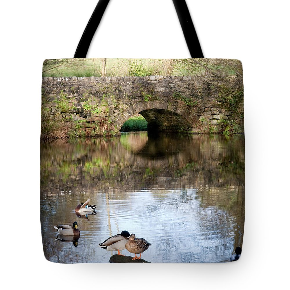 Pond Tote Bag featuring the photograph Derbyshire Duck Pond by Bob Kemp