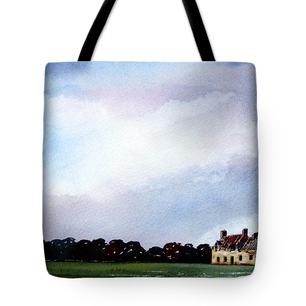 Watercolour Tote Bag featuring the painting Derelict Farmhouse Near Malton by Paul Dene Marlor