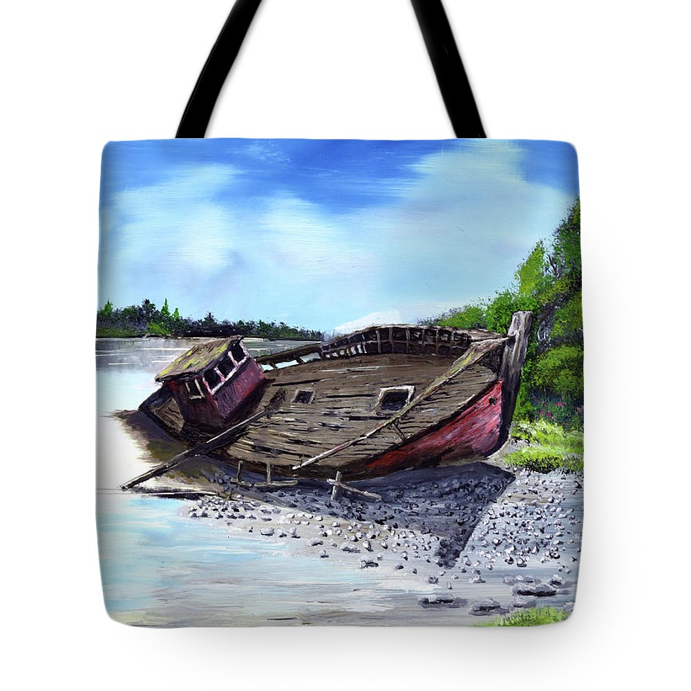 Alaska River Boat Fishing Derelict Sandbar Tote Bag featuring the painting Derelict by Kenneth Nelson