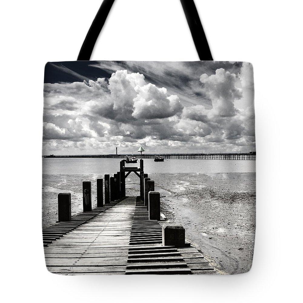 Wharf Southend Essex England Beach Sky Tote Bag featuring the photograph Derelict Wharf by Sheila Smart Fine Art Photography