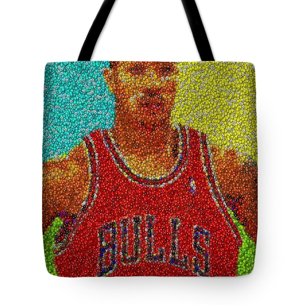 3fd8f032eb74 Chicago Tote Bag featuring the mixed media Derrick Rose Skittles Mosaic by Paul  Van Scott