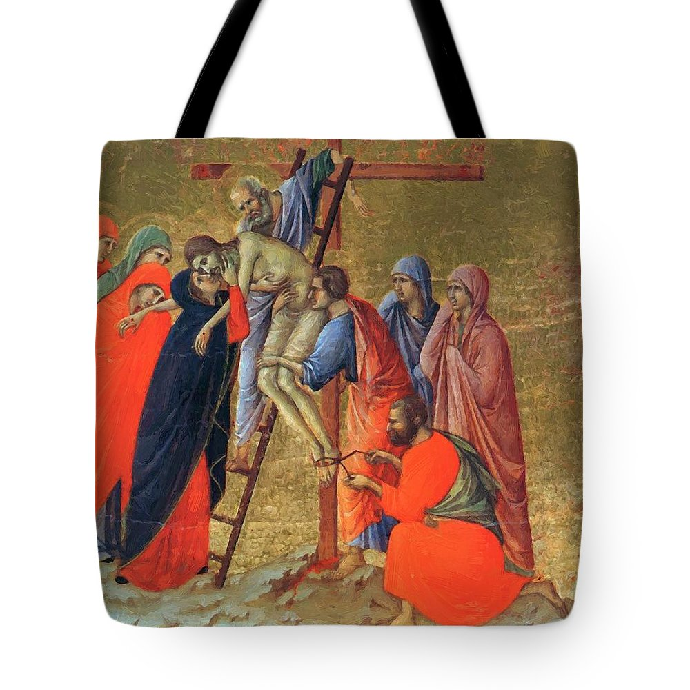 Descent Tote Bag featuring the painting Descent From The Cross 1311 by Duccio