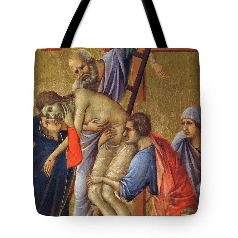 Descent Tote Bag featuring the painting Descent From The Cross Fragment 1311 by Duccio