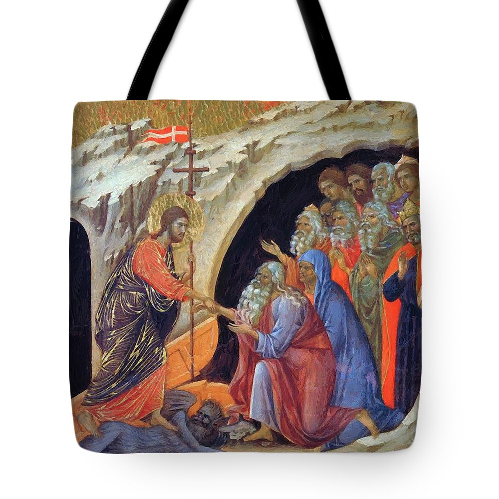 Descent Tote Bag featuring the painting Descent Into Hell 1311 by Duccio