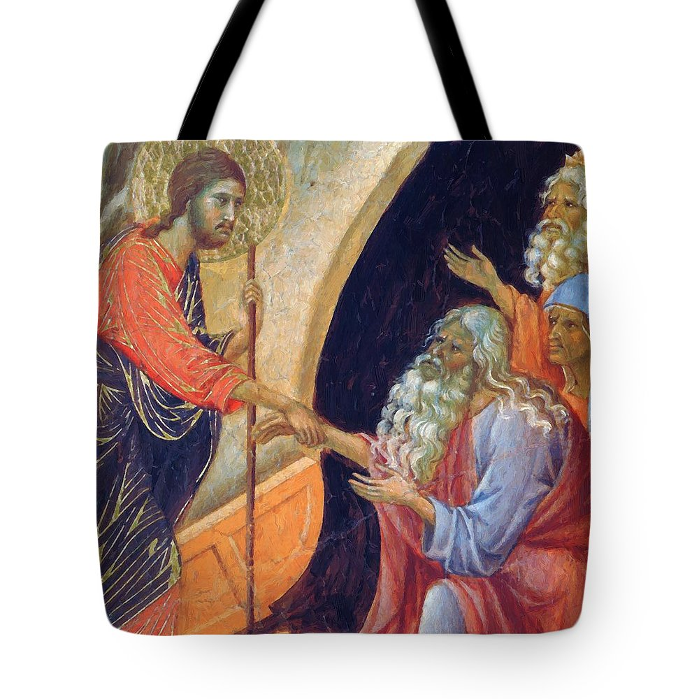 Descent Tote Bag featuring the painting Descent Into Hell Fragment 1311 by Duccio